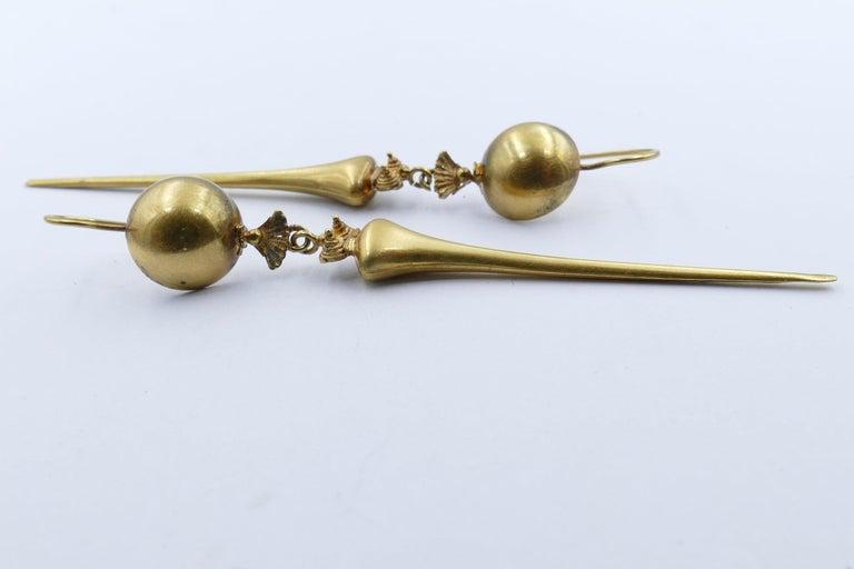 Victorian Handmade 9 Carat Yellow Gold Drop Earrings For Sale 1