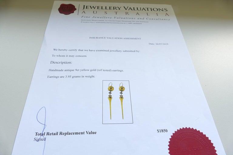 Victorian Handmade 9 Carat Yellow Gold Drop Earrings For Sale 2
