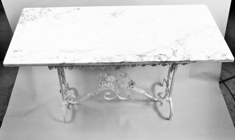 Victorian Hand Made Iron Base Table with Marble Top In Good Condition For Sale In Douglas Manor, NY