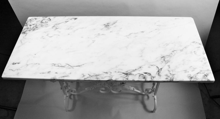 Victorian Hand Made Iron Base Table with Marble Top For Sale 3