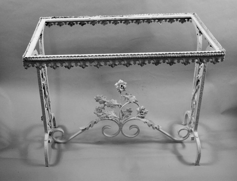 Victorian Hand Made Iron Base Table with Marble Top For Sale 4