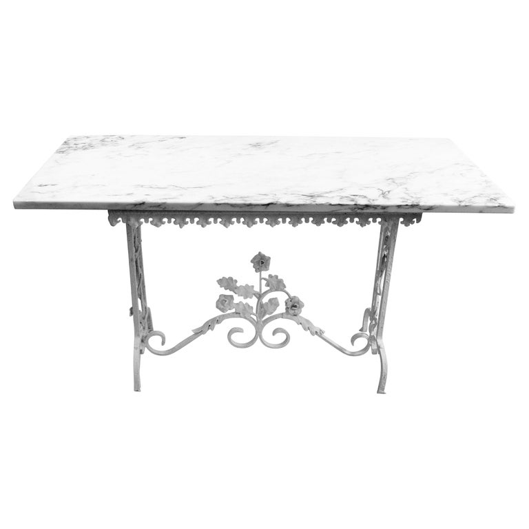 Victorian Hand Made Iron Base Table with Marble Top For Sale