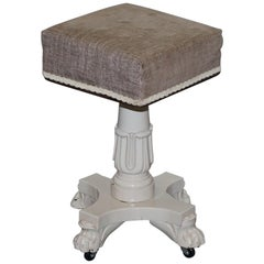 Victorian Hand Painted Height Adjustable Piano Stool on Wheels Lion Hairy Pay