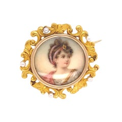 Victorian Hand Painted Portrait and Seed Pearl Gold Brooch Pin