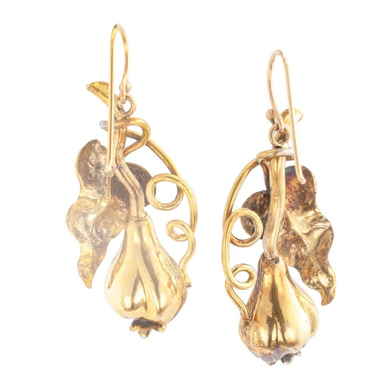 Women's Victorian Handcrafted Gold Drop Earrings For Sale