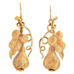 Victorian Handcrafted Gold Drop Earrings