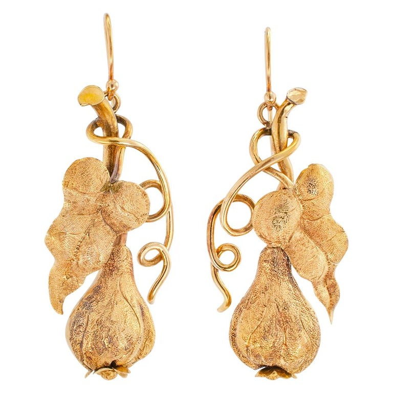Victorian Handcrafted Gold Drop Earrings For Sale