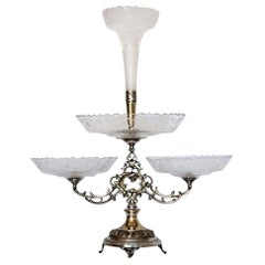 Victorian Handcut Crystal Silver Plate Epergne Centerpiece, England, 1880-1889