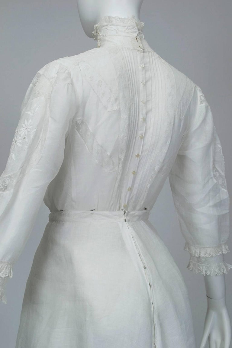 Victorian Handkerchief Hem Eyelet and Lace Bustle Tea Dress For Sale 5
