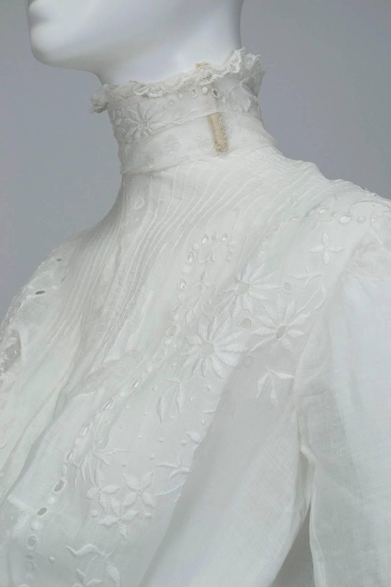 Victorian Handkerchief Hem Eyelet and Lace Bustle Tea Dress For Sale 6