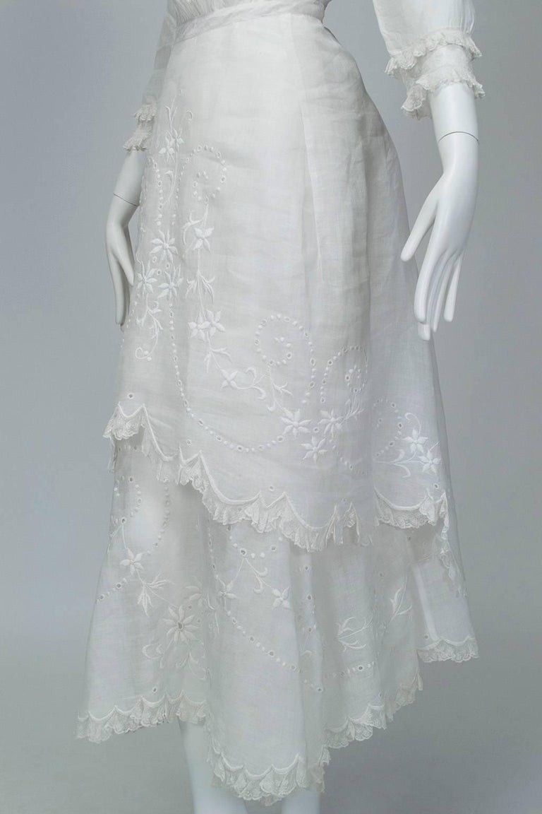 Victorian Handkerchief Hem Eyelet and Lace Bustle Tea Dress For Sale 8