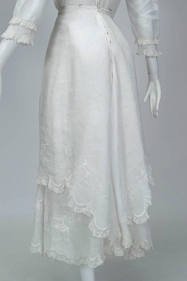 Victorian Handkerchief Hem Eyelet and Lace Bustle Tea Dress For Sale 9