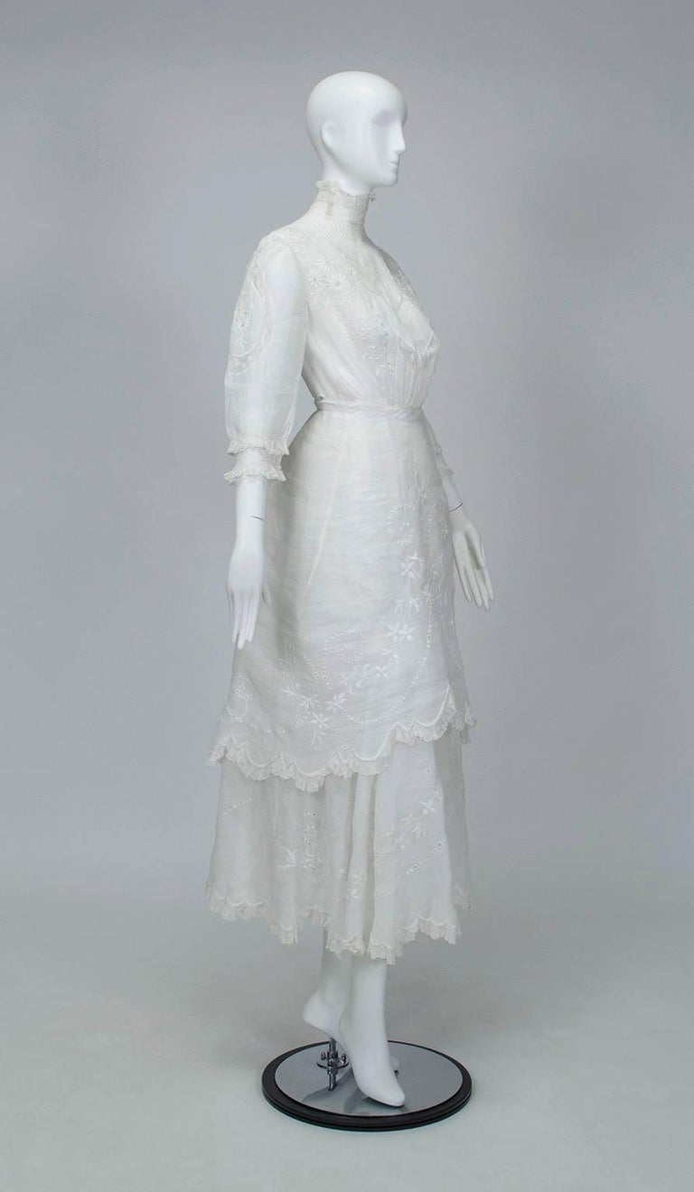 Gray Victorian Handkerchief Hem Eyelet and Lace Bustle Tea Dress For Sale