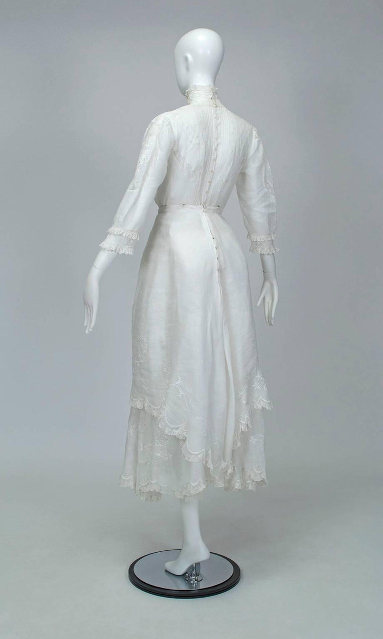 Women's Victorian Handkerchief Hem Eyelet and Lace Bustle Tea Dress For Sale