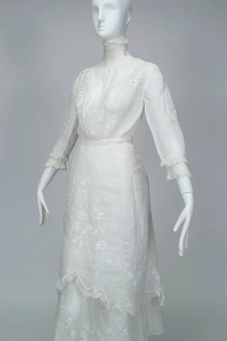 Victorian Handkerchief Hem Eyelet and Lace Bustle Tea Dress For Sale 1