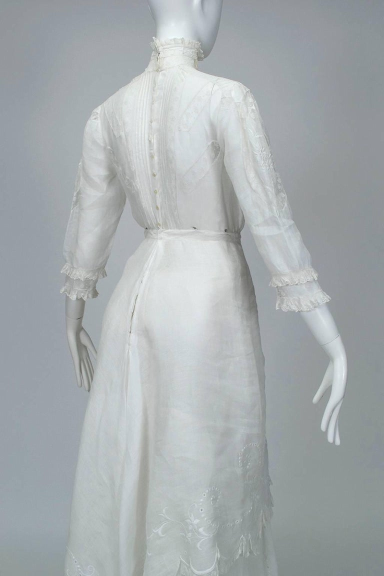 Victorian Handkerchief Hem Eyelet and Lace Bustle Tea Dress For Sale 2