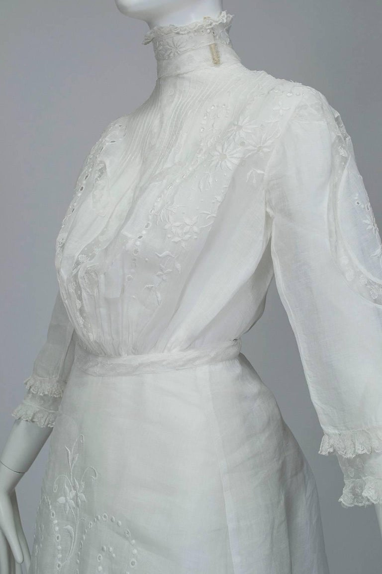 Victorian Handkerchief Hem Eyelet and Lace Bustle Tea Dress For Sale 3