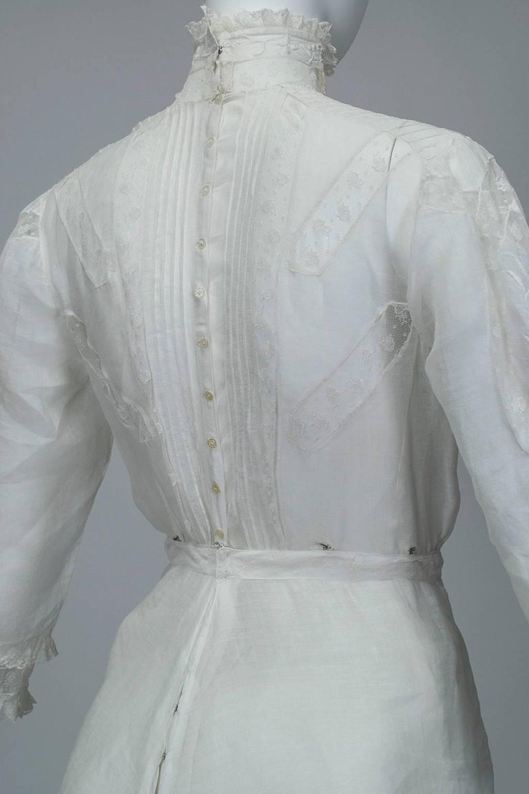 Victorian Handkerchief Hem Eyelet and Lace Bustle Tea Dress For Sale 4