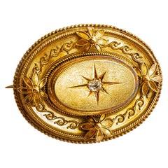 Victorian Handmade 14 Karat Gold Diamond Brooch 0.40 Carat