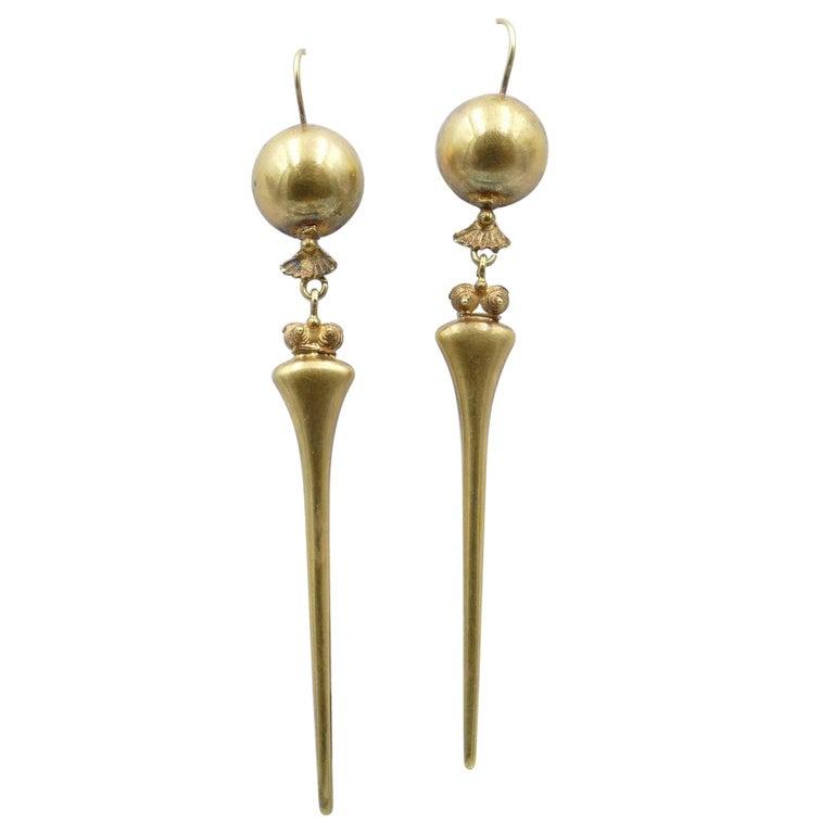 Victorian Handmade 9 Carat Yellow Gold Drop Earrings For Sale