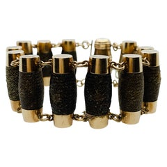 Victorian Handwoven 14 Karat Gold Barrel Shaped Mourning Remembrance Bracelet