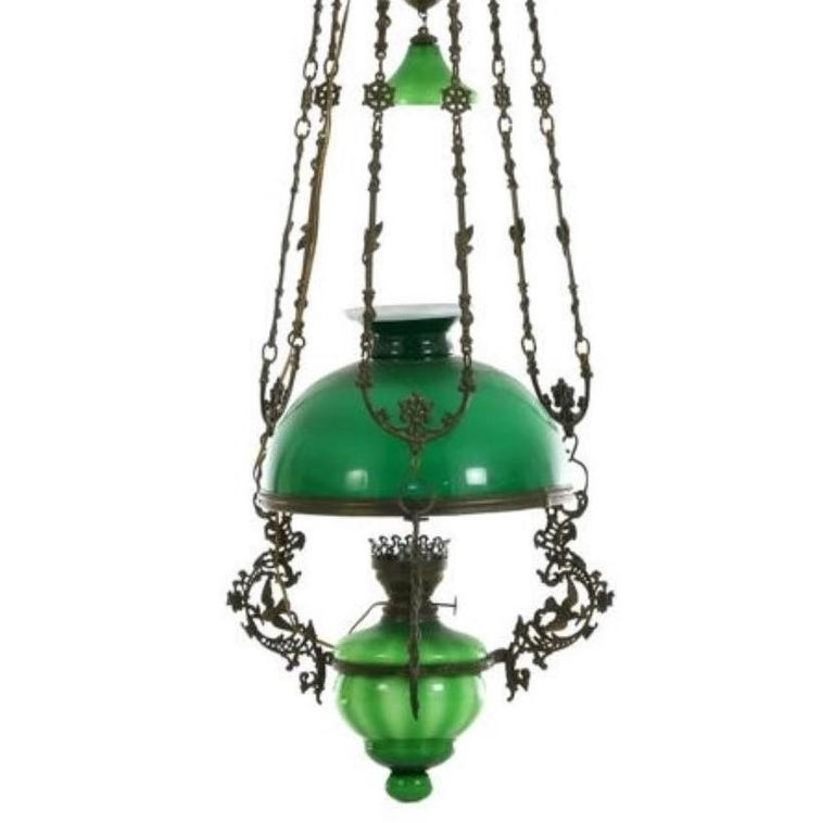 English Victorian Hanging Oil Lamp Converted to Electric Chandelier, England For Sale