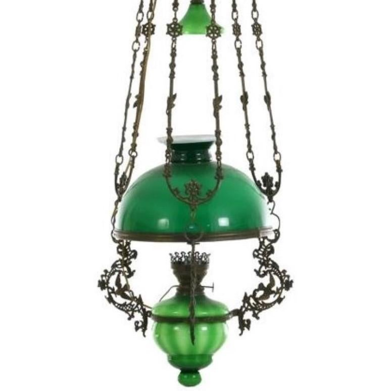 Victorian Hanging Oil Lamp Converted to Electric Chandelier, England In Good Condition For Sale In Frankfurt am Main, DE