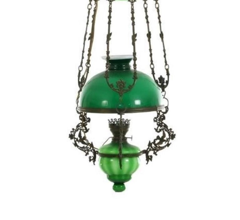 19th Century Victorian Hanging Oil Lamp Converted to Electric Chandelier, England For Sale