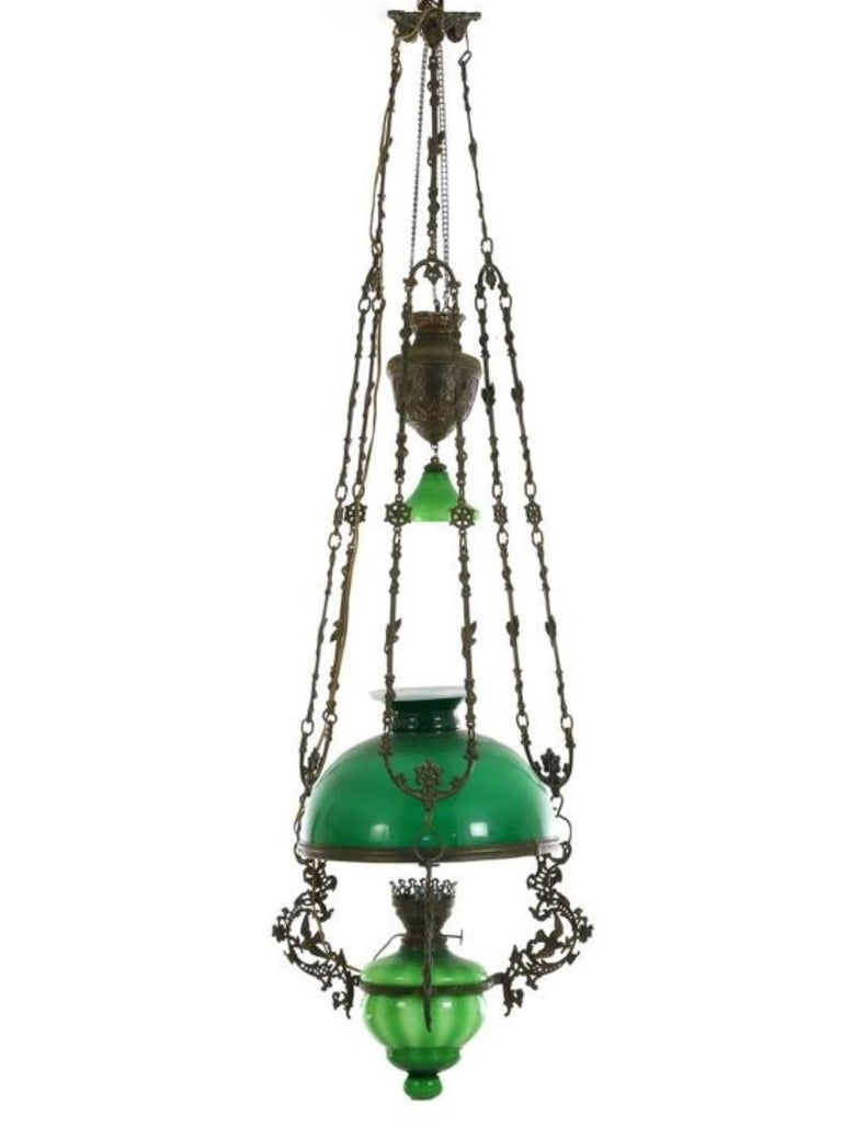 Bronze Victorian Hanging Oil Lamp Converted to Electric Chandelier, England For Sale
