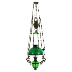 Victorian Hanging Oil Lamp Converted to Electric Chandelier, England