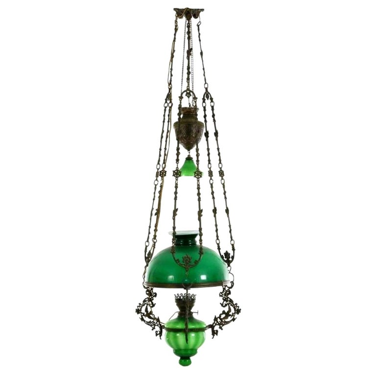 Victorian Hanging Oil Lamp Converted to Electric Chandelier, England For Sale