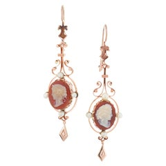 Victorian Hardstone Cameo Rose Gold Dangle Earrings