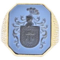 Victorian Hardstone Intaglio 18 Karat Gold Unisex Signet Ring