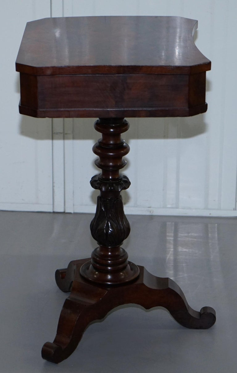 Victorian Harrods London Original Paperwork Sewing Box Work Table Flame Mahogany For Sale 4