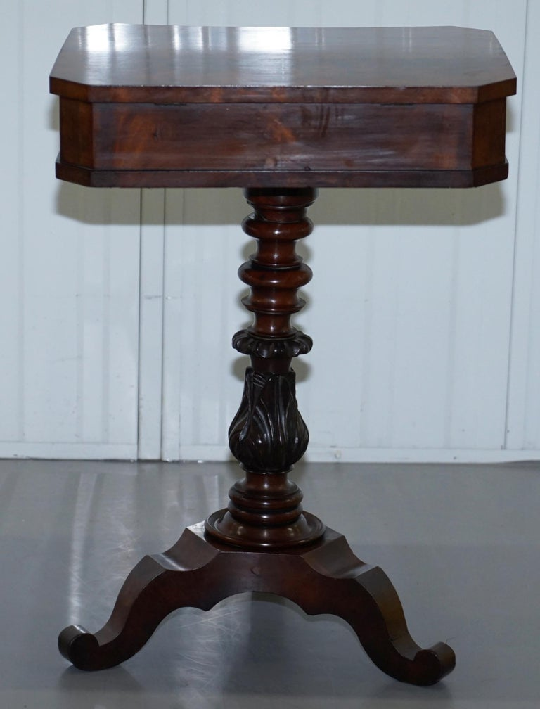Victorian Harrods London Original Paperwork Sewing Box Work Table Flame Mahogany For Sale 7