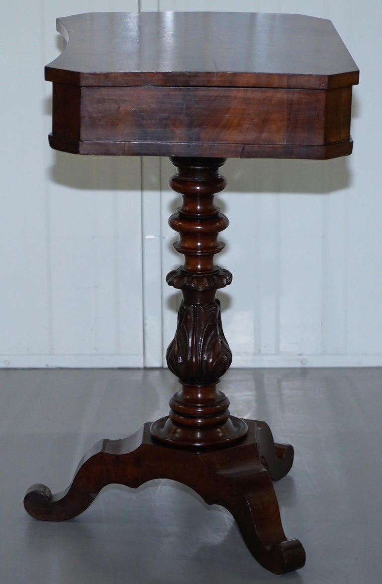 Victorian Harrods London Original Paperwork Sewing Box Work Table Flame Mahogany For Sale 9
