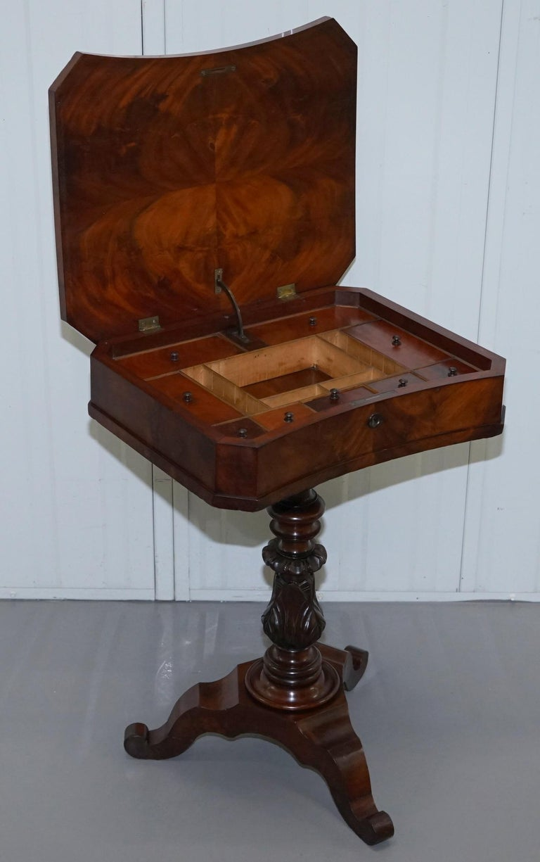 Victorian Harrods London Original Paperwork Sewing Box Work Table Flame Mahogany For Sale 10