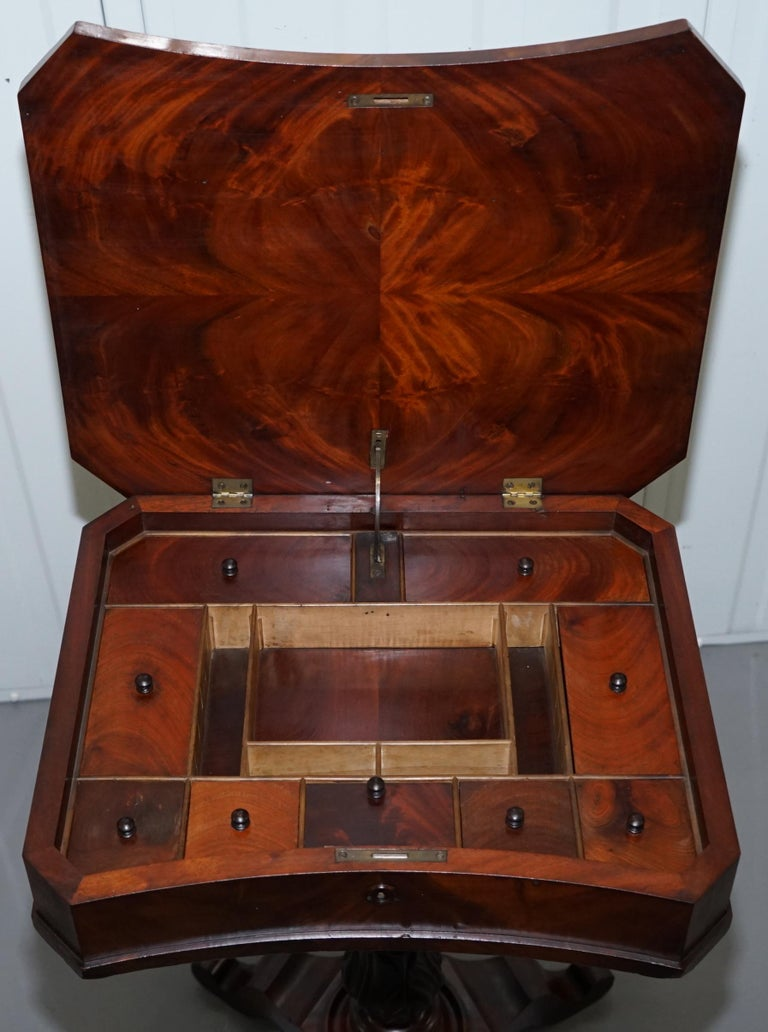 Victorian Harrods London Original Paperwork Sewing Box Work Table Flame Mahogany For Sale 11