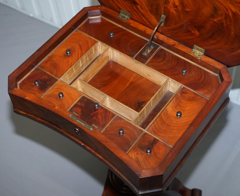 Victorian Harrods London Original Paperwork Sewing Box Work Table Flame Mahogany For Sale 12