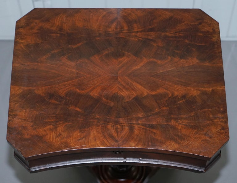 Hand-Crafted Victorian Harrods London Original Paperwork Sewing Box Work Table Flame Mahogany For Sale