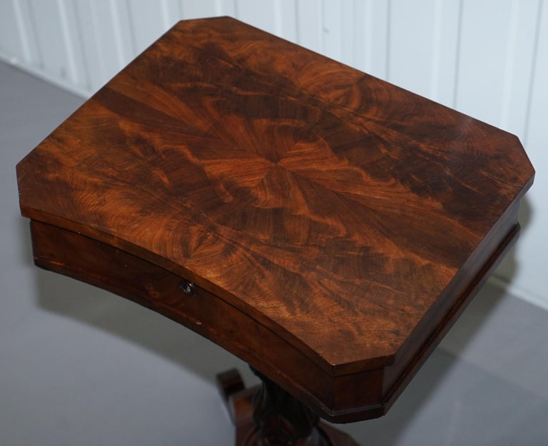 Victorian Harrods London Original Paperwork Sewing Box Work Table Flame Mahogany In Good Condition For Sale In London, GB