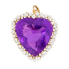 Victorian Heart Amethyst with Diamonds and Pearls Brooch Pendant, c.1900s
