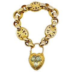 Antique Victorian Heart Locket Padlock Gold Aquamarine Grapes Link Bracelet