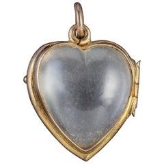 Victorian Heart Locket Pools of Light Rock Crystal 9 Carat Gold, circa 1900