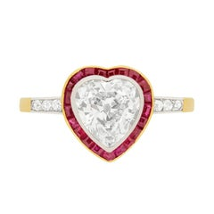 Victorian Heart Shaped Diamond and Ruby Halo Ring, circa 1900s