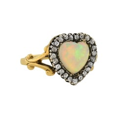Victorian Heart-Shaped Opal and Diamond Ring