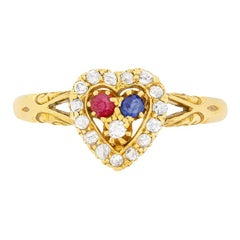 Victorian Heart Shaped Ring with Diamond, Sapphires and Rubies, circa 1902
