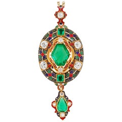 Victorian Holbeinesque Emerald and Diamond 18 Carat Gold Pendant, circa 1870