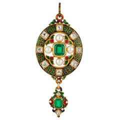 Victorian Holbeinesque Emerald, Diamond and Pearl Pendant
