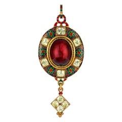 Victorian Holbeinesque Garnet and Chrysoberyl Pendant